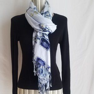 APT 9 Fringed Scarf/Wrap -Jewel and Pearl Design